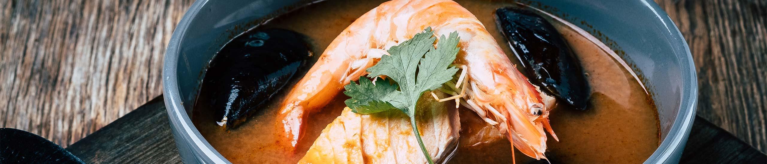 Gericht Schwebegarnele Muscheln