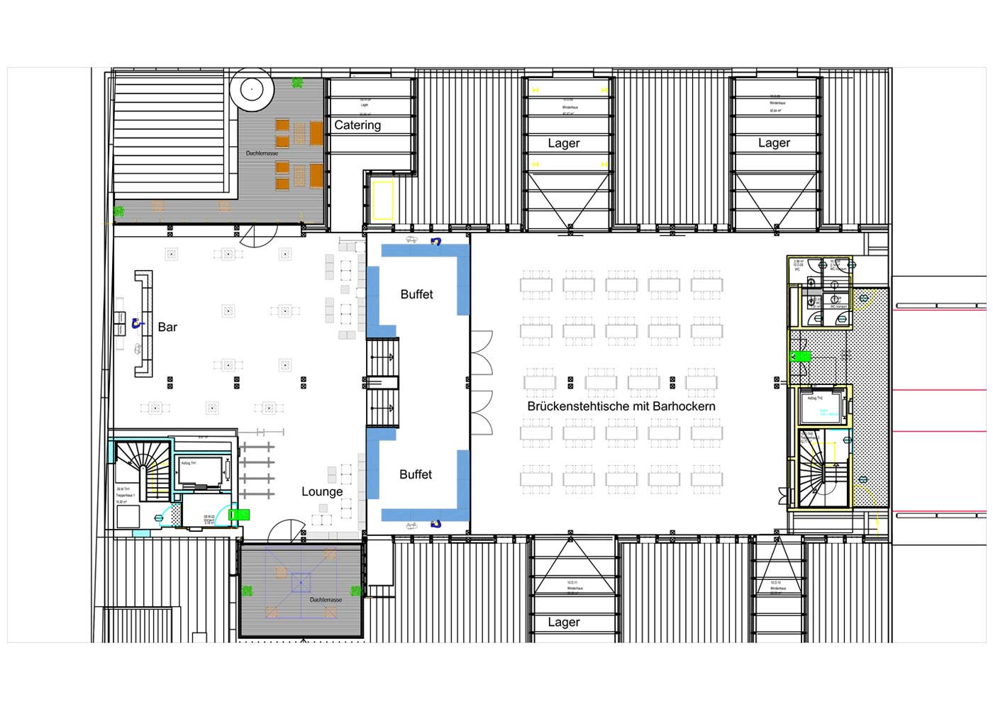 Grundriss Deck 10 Lounge und Brücken